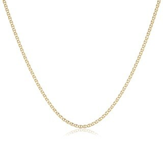 Fremada 10k Yellow Gold 20-inch Pave Flat Mariner Chain Necklace
