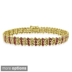 DB Designs 18k Two-tone Gold over Silver Champagne Diamond Tennis Bracelet