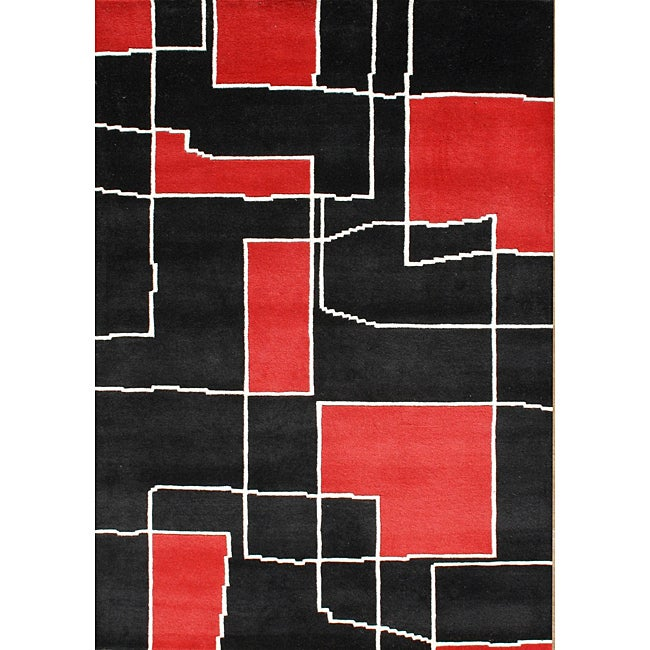 Alliyah Handmade Black/ Red Floral New Zealand Blend Wool Rug  (8' x 10')
