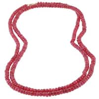 DaVonna Red Ruby Roundel 36-inch Necklace with 14k Gold Claw Clasp