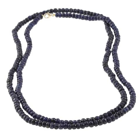 DaVonna 14k Yellow Gold Blue Sapphire Roundel 36-inch Necklace (3-4 mm)