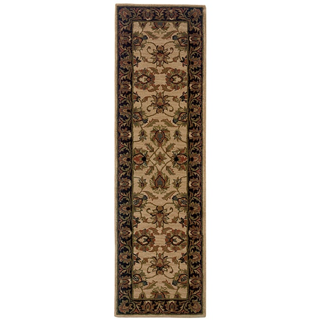 Hand-tufted Beige/ Black Wool Area Rug (2'3 x 8') - Thumbnail 0