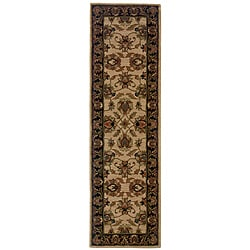 Hand-tufted Beige/ Black Wool Area Rug (2'3 x 8')
