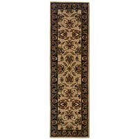 Hand-tufted Beige/ Black Wool Area Rug (2'3 x 8') - 2'3 x 8'