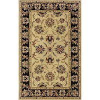 Hand-tufted Traditional Beige/ Black Wool Area Rug (3'6 x 5'6)