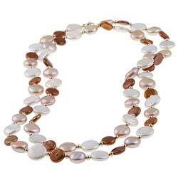 DaVonna 14k Gold Brown Pink and White FW Pearl Coin Necklace (9-11 mm)