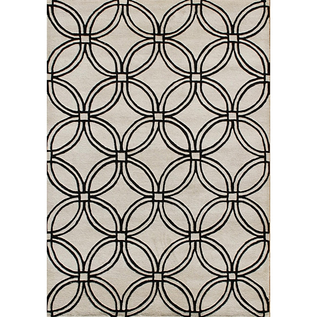 Alliyah Handmade Light Grey New Zealand Blend Wool Rug (5' x 8')