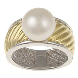 Kabella Kabella Two-tone Silver Wide Twist Rope Freshwater Pearl Ring (9-10 mm)