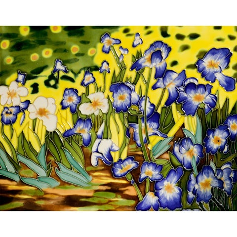 Vincent Van Gogh 'Irises' Hand Painted Felt Backed Wall Accent Tile