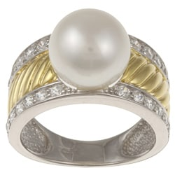 Kabella Kabella Two-tone Silver Twist Rope Pearl and Cubic Zirconia Ring (9-10 mm)