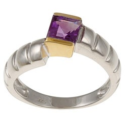 Kabella Kabella Two-Tone Sterling Silver Square Amethyst Ring