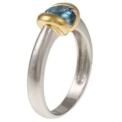 Kabella Kabella Two-tone Silver Round Blue Topaz Ring - Thumbnail 1