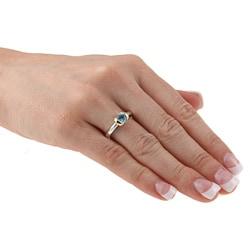 Kabella Kabella Two-tone Silver Round Blue Topaz Ring - Thumbnail 2