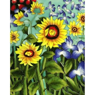 Van Gogh 'Sunflowers and Irises' Hand Painted Felt Backed Accent Tile