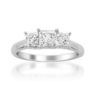 Montebello 14k White Gold 1ct TDW 3-stone Diamond Ring