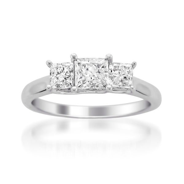 Montebello 14k White Gold 1ct TDW 3-stone Diamond Ring