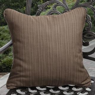 Clara Indoor/ Outdoor Textured Brown Throw Pillows made with Sunbrella (Set of 2)