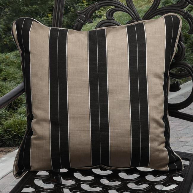 Clara Indoor Outdoor Brown Black Stripe Throw Pillows