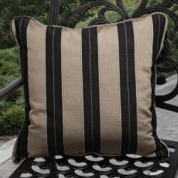 Clara Indoor/ Outdoor Brown/ Black Stripe Throw Pillows made with Sunbrella (Set of 2)