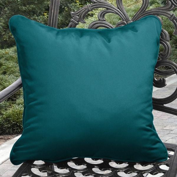 Clara Indoor/ Outdoor Teal Blue Throw Pillows made with Sunbrella (Set of 2)