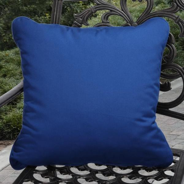 Clara Indoor/ Outdoor Blue Throw Pillows made with Sunbrella (Set of 2)