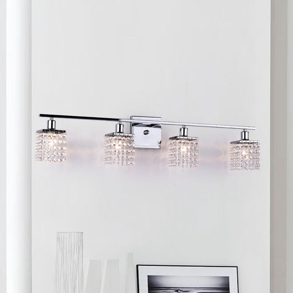 Four light chrome crystal wall sconce free shipping today four light chrome crystal wall sconce mozeypictures Image collections