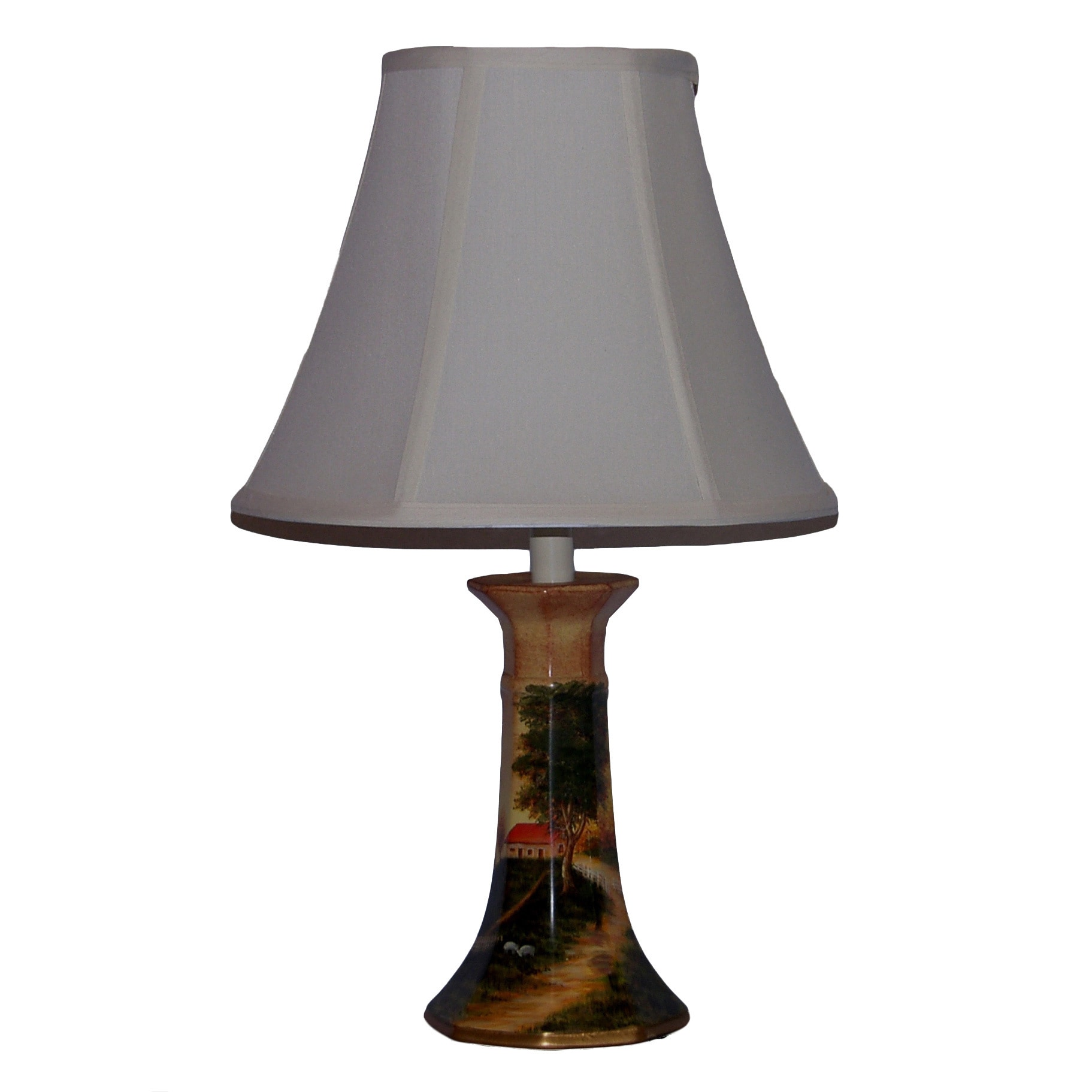 Country Farm Porcelain Table Lamp, Brown (Brass)