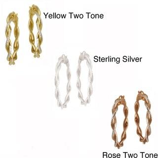 Mondevio Sterling Silver Diamond-cut Twist Design Hoop Earrings
