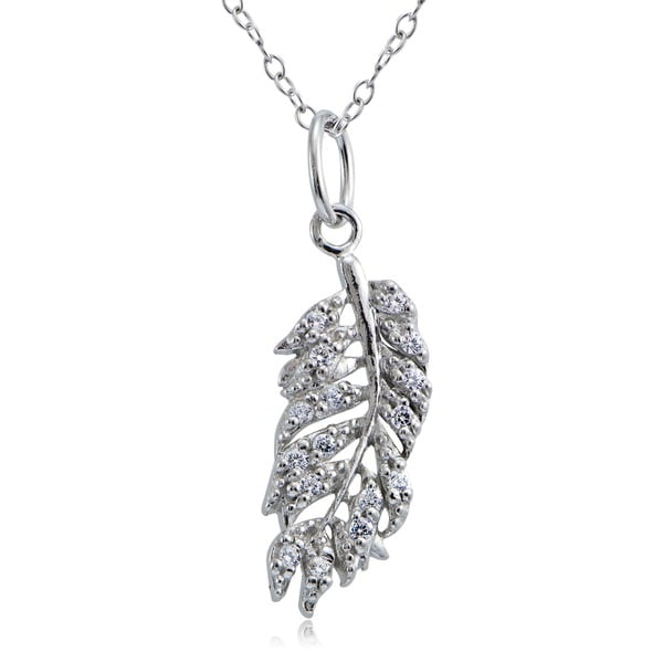 Icz Stonez Sterling Silver Cubic Zirconia Leaf Necklace