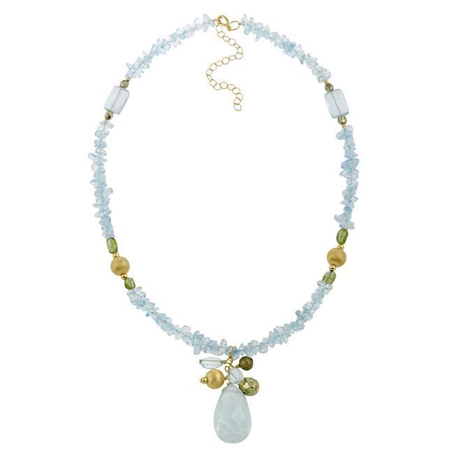 Glitzy Rocks 18k Gold over Silver Quartz and Peridot Necklace