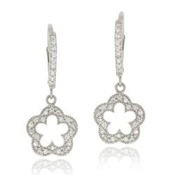 Icz Stonez Sterling Silver Cubic Zirconia Open Flower Dangle Earrings