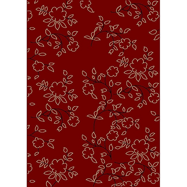 Admire Home Living Impressions Red Area Rug (5'5 x 7'7)