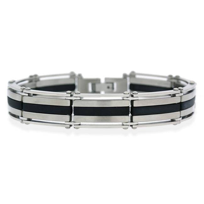 Mondevio Stainless Steel and Black Rubber Men's Link Bracelet