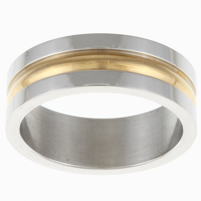 Stainless Steel Goldtone Striped Band