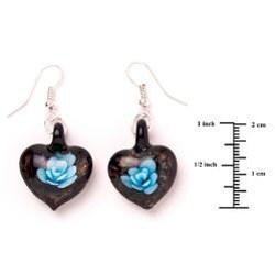 Murano-inspired Glass Blue and Black Flower Heart Earrings
