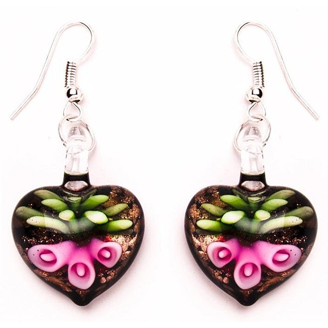Murano-inspired Glass Pink Lily Heart Earrings