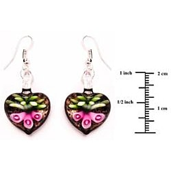 Murano-inspired Glass Pink Lily Heart Earrings - Thumbnail 1