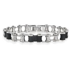 Mondevio Stainless Steel and Black Rubber Men's Link Bracelet
