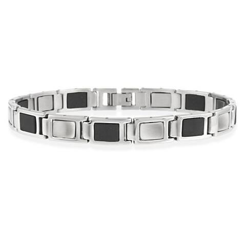 Mondevio Stainless Steel and Black Rubber Link Men's Bracelet