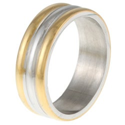 Stainless Steel GoldTone Ribbed Band - Thumbnail 1
