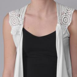 Journee Collection Women's Crochet Detail Open Front Knit Vest