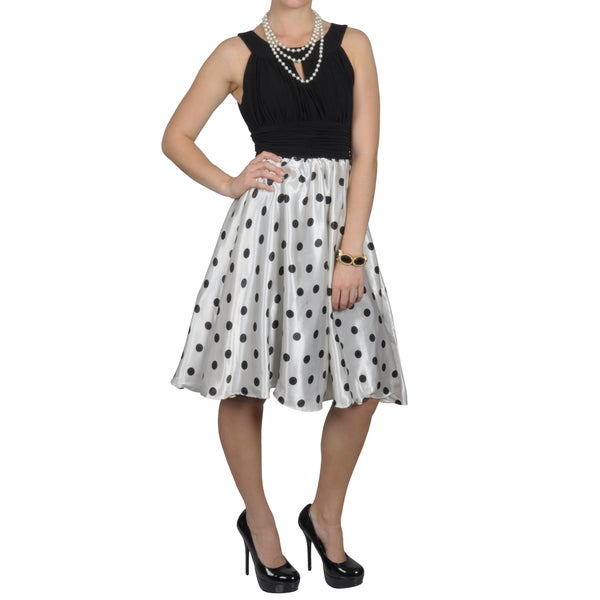 Sangria Women's Polka Dotted Charmuse Empire Waist Dress