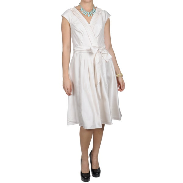 Sangria Women's Pleated Accent Cap sleeve Dress