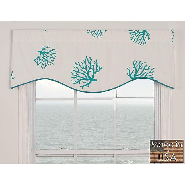 Coral Turquoise Cotton M-shaped Valance