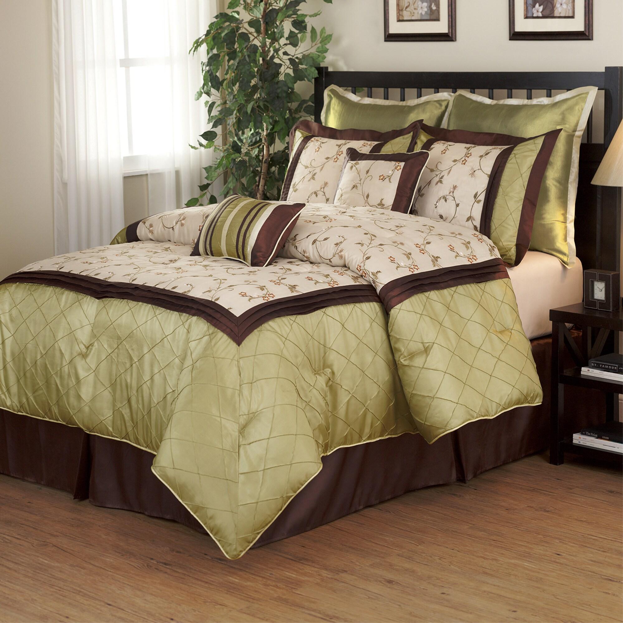 Savanna Green Brown 8 Piece Comforter Set Overstock 5814923