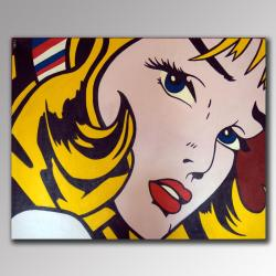 Handmade 'Woman on the Go' American Pop Canvas Art (Indonesia)
