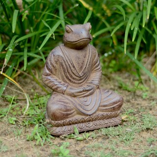 Volcanic Ash Black Meditating Frog Statue, Handmade in Indonesia|https://ak1.ostkcdn.com/images/products/5815126/5815126/Volcanic-Ash-Black-Meditating-Frog-Statue-Indonesia-P13532662.jpg?_ostk_perf_=percv&impolicy=medium