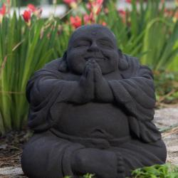 Volcanic Ash Namaste Black Happy Buddha Statue, Handmade in Indonesia