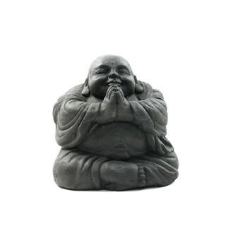 Handmade Volcanic Ash Namaste Black Happy Buddha Statue (Indonesia)