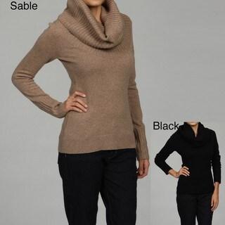 Cullen Women's Deep Cowl Neck Rib Detail Sweater